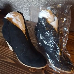 Brand new faux black suede booties